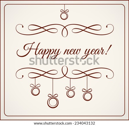 Calligraphy happy new year - stock vector