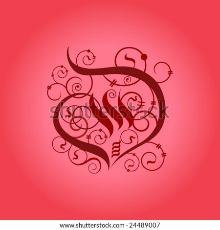 calligraphy heart - stock vector
