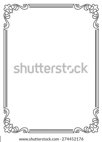 calligraphy penmanship curly baroque frame black - stock vector