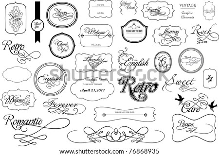 calligraphy set for scrap-booking used - stock vector