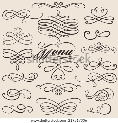 calligraphy vintage elements design - stock vector
