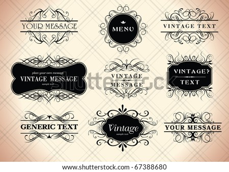 calligraphy vintage frames for your text - stock vector