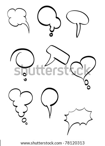 Callout Shapes. White Background - stock vector