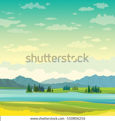 Calm blue lake with green grass and mountains on a cloudy sky. Summer landscape. Natural vector illustration.