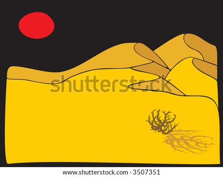 calm desert scene of a tumbleweed casting a shadow in the sand with red sun setting - stock vector