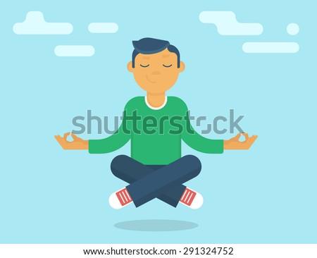 Calm guy meditating in the sky. Flat modern style - stock vector