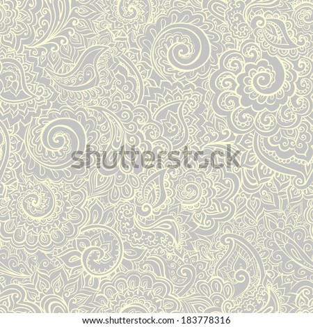Calm seamless grey pattern with traditional indian ornamental design - stock vector