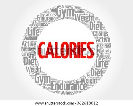 CALORIES word cloud, fitness, sport, health concept - stock vector