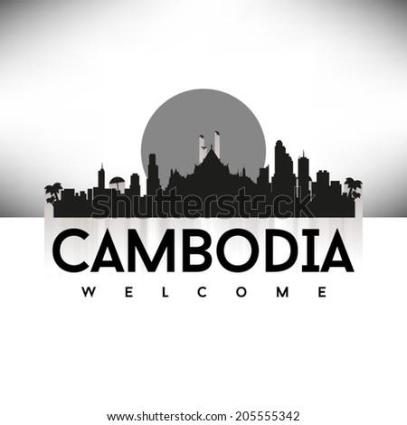 Cambodia black skyline silhouette design, vector illustration. - stock vector