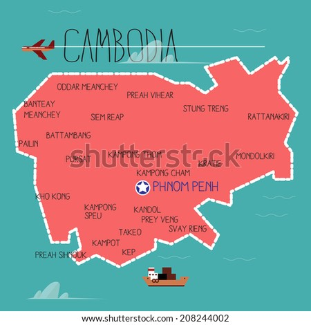 cambodia map - vector  - stock vector