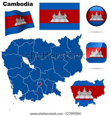 Cambodia vector set. Detailed country shape with region borders, flags and icons isolated on white background. - stock vector