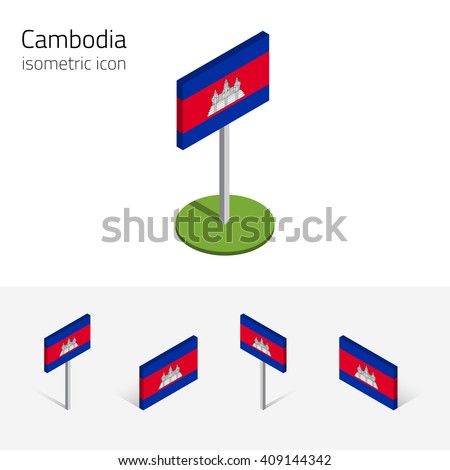 Cambodian flag (Kingdom of Cambodia), vector set of isometric flat icons, 3D style, different views. Editable design elements for banner, website, presentation, infographic, poster, map. Eps 10 - stock vector