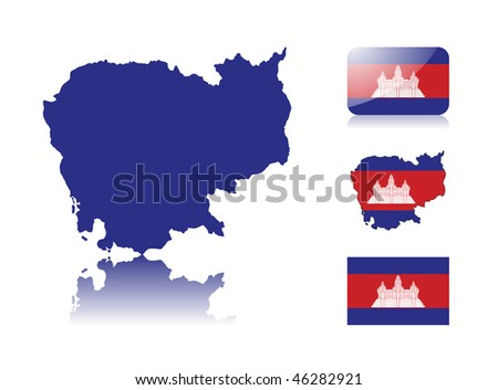 Cambodian map including: map with reflection, map in flag colors, glossy and normal flag of Cambodia. - stock vector