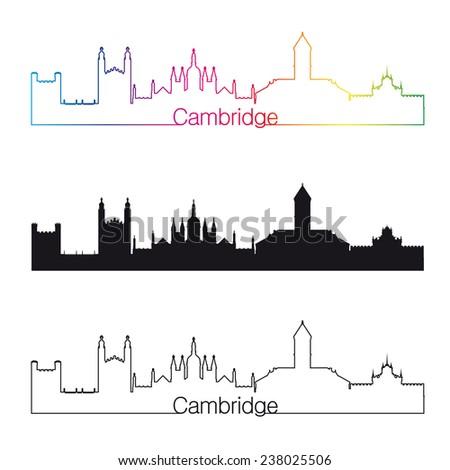 Cambridge skyline linear style with rainbow in editable vector file - stock vector