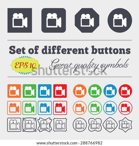 camcorder icon sign. Big set of colorful, diverse, high-quality buttons. Vector illustration - stock vector