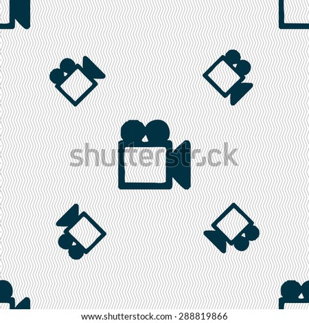 camcorder icon sign. Seamless pattern with geometric texture. Vector illustration - stock vector