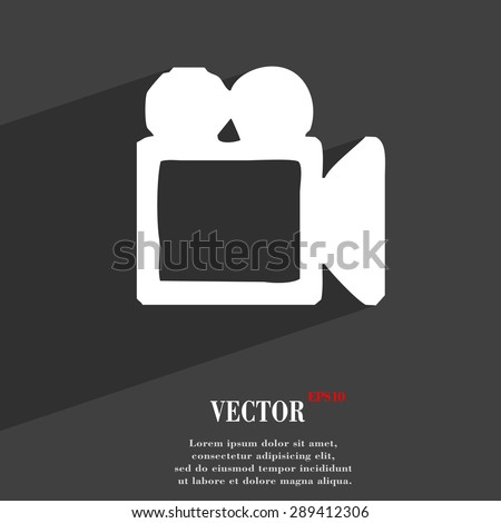 camcorder icon symbol Flat modern web design with long shadow and space for your text. Vector illustration - stock vector