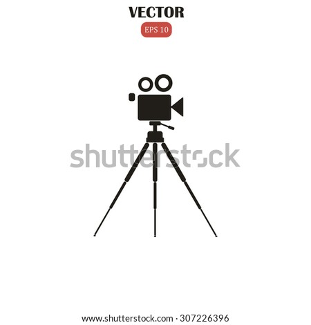 camcorder on a tripod vector illustration - stock vector