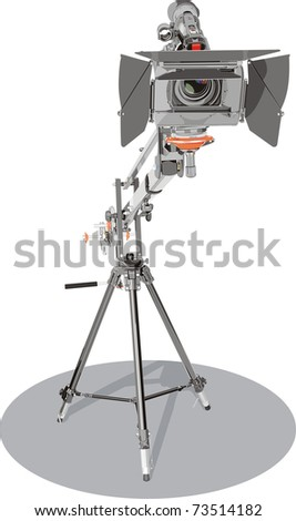 camcorder on crane in studio - stock vector