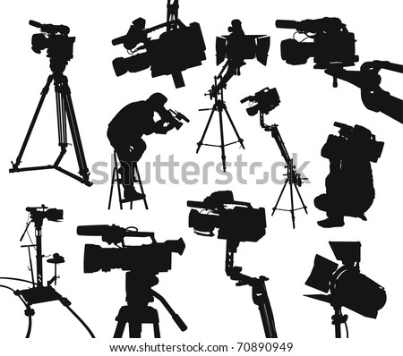 camcorders and cameramen on white background - stock vector
