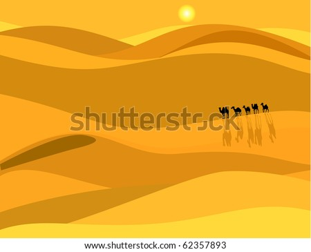 Camel caravan in the desert - stock vector