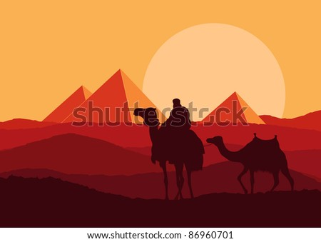 Camel caravan in wild Africa pyramids landscape background illustration - stock vector