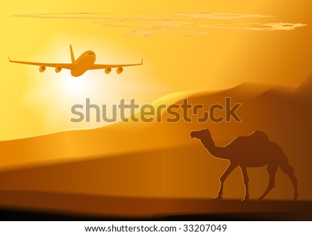 camel,jet, and sunset.vector illustration. - stock vector