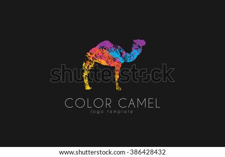 Camel logo. Color camel logo design. Animal logo. Creative logo - stock vector