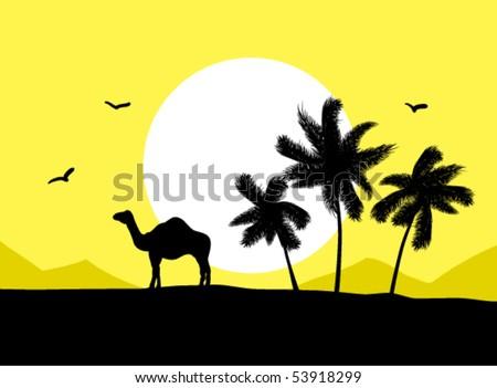 Camel near palm trees in desert - stock vector