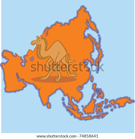 Camel on Asia Map - stock vector
