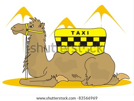 camel taxi - stock vector