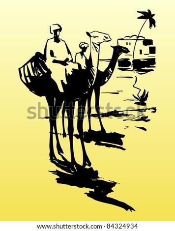 Camels and bedouins in desert - stock vector