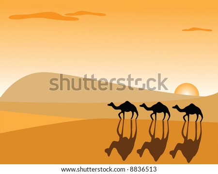 camels in the desert - stock vector