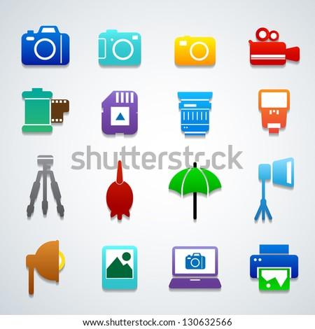 camera accessories color - stock vector