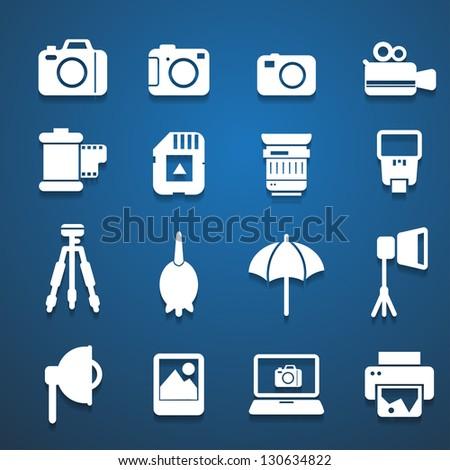 camera accessories white icons - stock vector