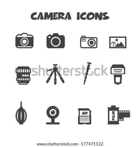 camera and accessories icons, mono vector symbols - stock vector