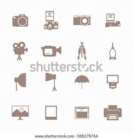 Camera and accessory icons - stock vector