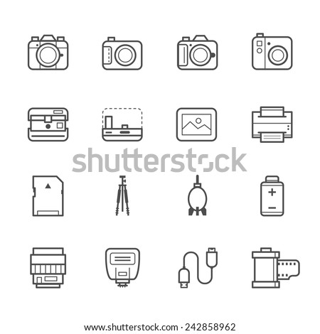 Camera and Camera Accessories Icons - stock vector