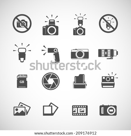 camera and flash icon set, each icon is a single object (compound path), vector eps10 - stock vector