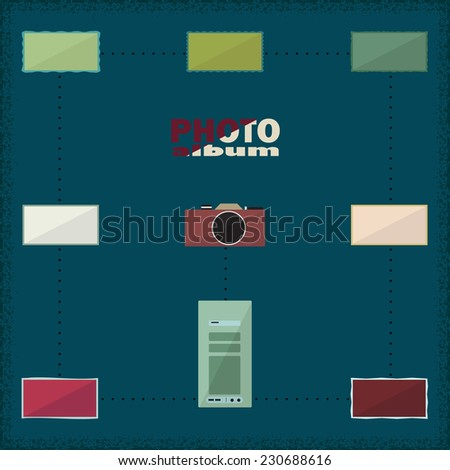 Camera and system unit surrounded photo cards - stock vector