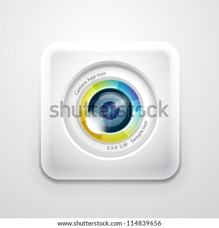 Camera application icon. Colorful camera lens design on white square shape - stock vector