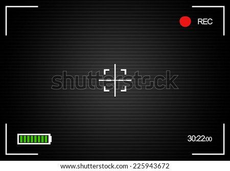 "Camera background, camera viewfinder background with battery indicator, ""rec"" label, crosshair, scanlines, and time indicator - stock vector"