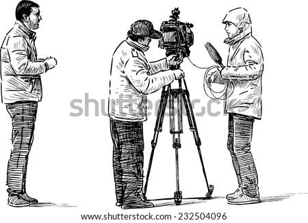 camera crew - stock vector