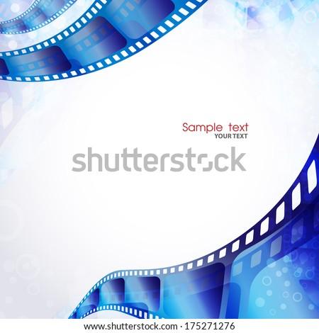 Camera film roll blue color - stock vector