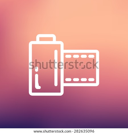 Camera film roll icon thin line for web and mobile, modern minimalistic flat design. Vector white icon on gradient mesh background. - stock vector