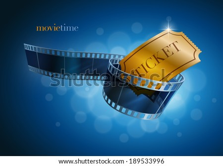 Camera film strip and gold ticket on blue defocus background. Vector illustration. - stock vector