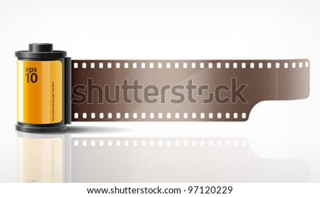 Camera film yellow roll, vector illustration - stock vector
