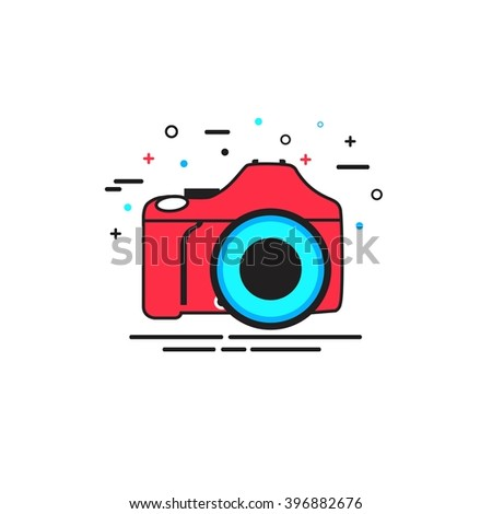 Camera icon. Camera vector icon. Photo camera icon. Camera flat icon. Digital camera icon. Digital camera isolated. Camera logo. Camera Flat design style. Vector illustration. - stock vector