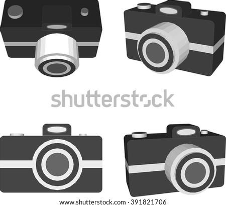 Camera icon, 3D, vector - stock vector