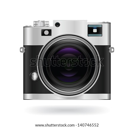 Camera icon isolated on white background. Vintage style. Vector illustration - stock vector